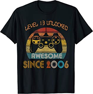Level 13 Unlocked Awesome Since 2006-13th Birthday Gamer T-Shirt