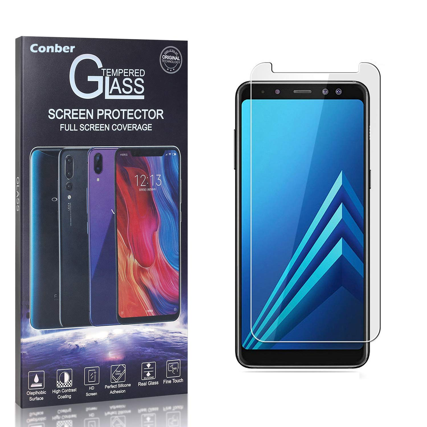 Conber 2 Superlatite Pack Max 89% OFF Screen Protector for Galaxy Plus 2018 A8 Samsung