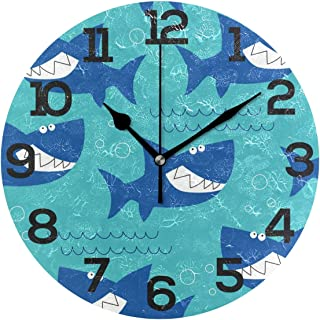 Dozili Ocean Sea Shark Patern Round Wall Clock Arabic Numerals Design Non Ticking Wall Clock Large for Bedrooms,Living Room,Bathroom