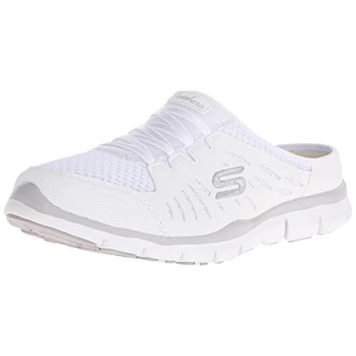 skechers slip on white