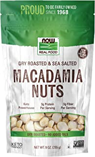 NOW Natural Foods, Macadamia Nuts, Dry Roasted with Sea Salt, Source of Fiber, Gluten-Free and Certified Non-GMO, 9-Ounce...