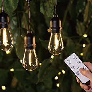 LUKASUMI 52Ft Dimmable LED Outdoor String Lights Family, Waterproof Patio String Lights with 4 Brightness Modes Remote Dimmer (Included), 15+(1) Edison Bulbs for Porch Backyard Bistro