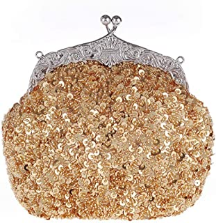 New Fashion Beaded Sequin Evening Dress Bag Ladies Wedding Banquet Bag Chain Shoulder Messenger Mobile Wallet Size: 20 * 8 * 16CM Fashion (Color : Gold)