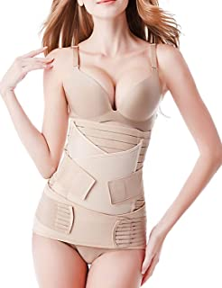 3 in 1 Postpartum Girdle Support Recovery Belly Band Corset Wrap Body Shaper for After Birth Postnatal C-Section Waist Pelvis Shapewear-Free Size