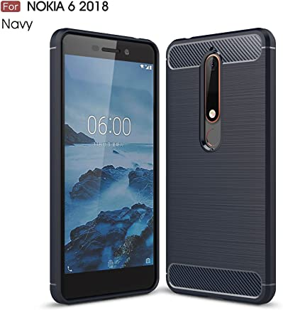 LJSM Case for Nokia 6.1 / Nokia 6 2018 Blue Oscuro Carbon Fiber Soft TPU Silicone