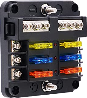 BlueFire Upgraded 6 Way Blade Fuse Box Fuse Box Holder Standard Circuit Fuse Holder Box Block with LED Light Indication & Protection Cover for Car Boat Marine Trike Car Truck Vehicle SUV Yacht RV