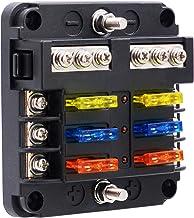 BlueFire 6 Way Blade Fuse Box Fuse Box Holder Standard Circuit Fuse Holder Box Block with LED Light Indication & Protectio...