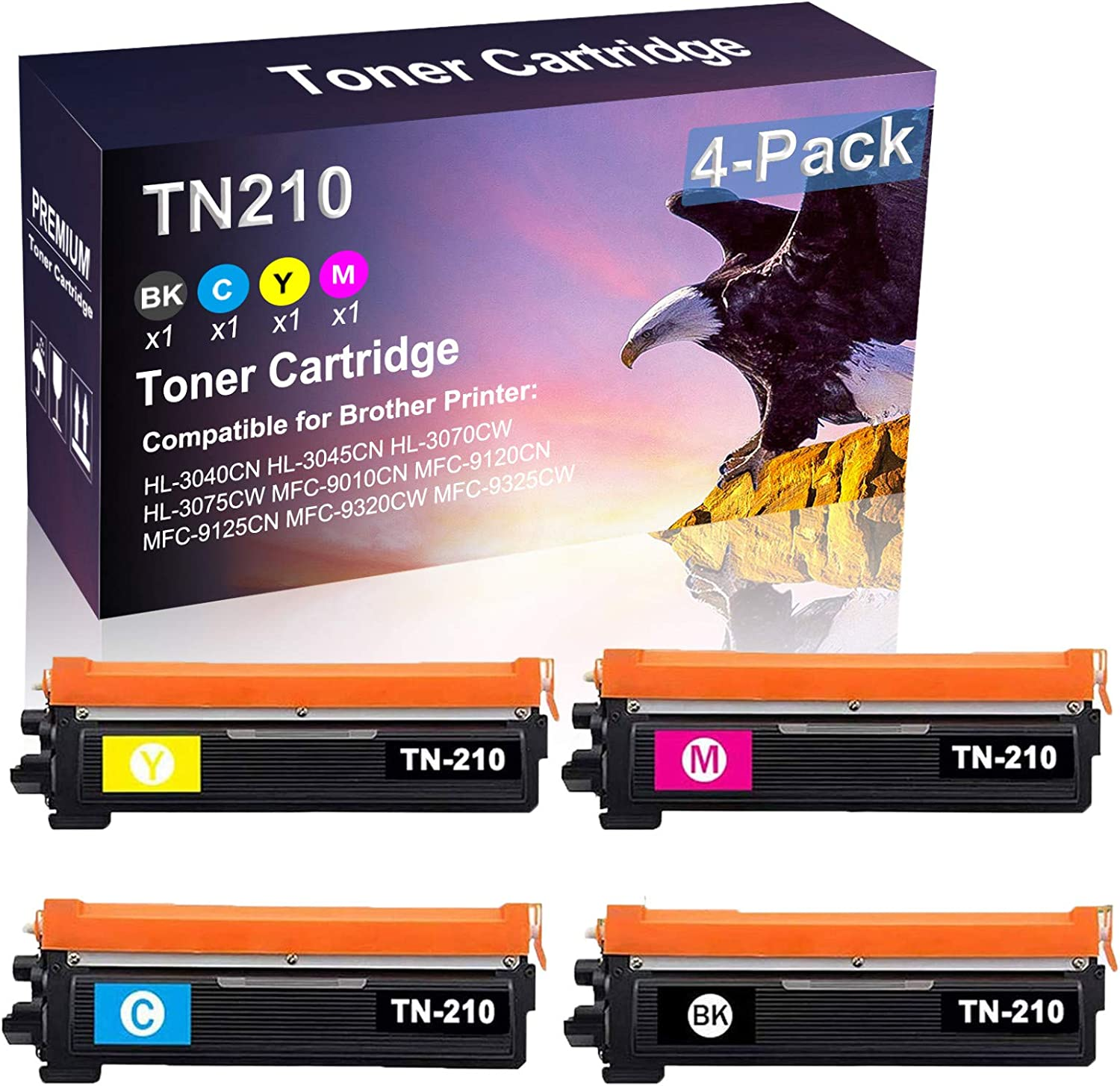 4 Pack (BK+C+Y+M) Compatible HL-3075CW MFC-9010CN MFC-9120CN Toner Cartridge Replacement for Brother TN210 Printer Toner Cartridge (High Capacity)