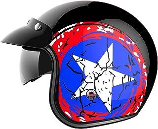 Motorcycle Open Face Helmet DOT Approved - YEMA YM-629 Motorbike Moped Jet Vespa Bobber Chopper Pilot Crash 3/4 Helmet with Sun Visor for Men Women Adult Street Bike Scooter Cruiser - XL
