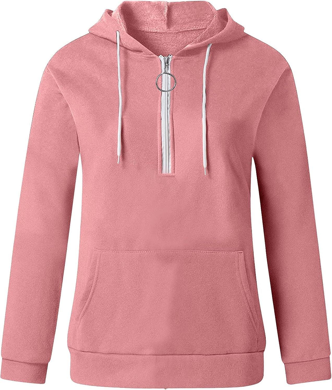FABIURT Sweatshirts for Women Casual 1/2 Zip Up Loose Sweatshirts Pullover Long Sleeve Jumper Hoodies Blouse with Pocket