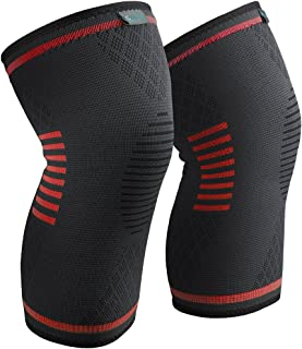 Sable Knee Brace Support Compression Sleeves for Men and Women, 1 Pair FDA Registered Wraps Pads for Arthritis, ACL, Running, Pain Relief, Injury Recovery, Basketball and More Sports
