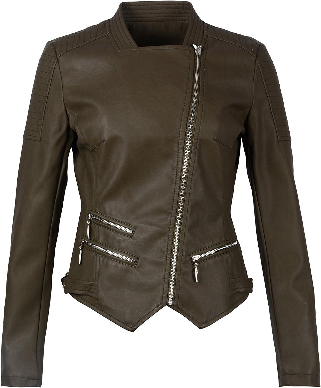 YSYESEER Women's Cool Stylish Tunic Motorcycle Faux Leather Jacket Coat Zipper