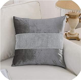 18inch Silver Grey Diamante Crushed Velvet Cushion Cover 45x45cm Bling Cushion Cover Hidden Zipper Car Sofa Home Decorative,450mm450mm,Gray