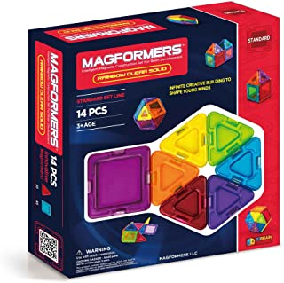 Magformers Rainbow Clear Solid Set (14-pieces) Basic Magnetic Building Blocks, Educational Magnetic Tiles Kit , Magnetic C...
