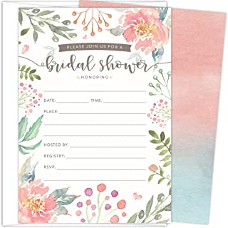 Koko Paper Co Bridal Shower Invitations. Set of 25 Fill-in Style Cards and White Envelopes. Light Pink and Green Florals Designs. Printed on Heavy Card Stock.