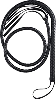 Hsei 1 Piece Costume Whip Handmade Leather Bullwhip Cosplay Supplies for Halloween Costume Accessories (Black)