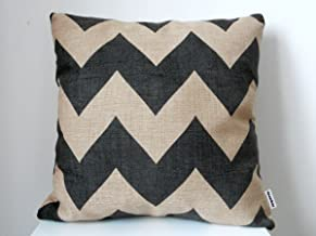 Decorbox Cotton Linen Square Throw Pillow Case Decorative Cushion Cover Pillowcase Black Zig Zag Chevron Fade Zigzag Stripes Wave 18 X18