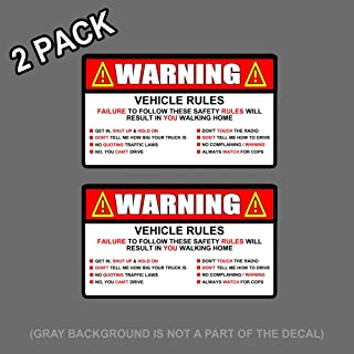 OwnTheAvenue x2 Warning Rules Decal Sticker Funny JDM Car Truck SUV 5