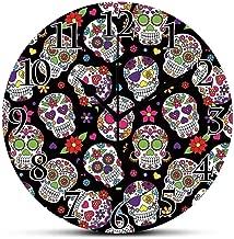 BCWAYGOD Silent Wall Clock,Sugar Skull Decor,Festive Graveyard Mexico Ritual Figures Mask Design on Black Backdrop Decorative Non Ticking Wall Clock/Desk Clock for Office Home Decor 9.5 inch