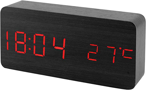 Sound Control Calendar Thermometer Red LED Display Wooden Bamboo Digital Alarm Clock Minimalist Rectangle Night Shelf Deck Clock USB AAA Powered For Living Room Bedrooms Office Home Decor