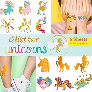 Ooopsi Unicorn Tattoos for Kids - 58 Gold Glitter Styles, Unicorn Party Favors and Birthday Decorations for Girls Boys