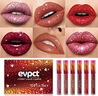 6Pcs / Set Matte to Glitter Liquid Lipstick Set, Diamond Shimmer Metallic Lipgloss Waterproof Long Lasting Not Stick Cup Lip Gloss Set Makeup Gift Kit evpct 01