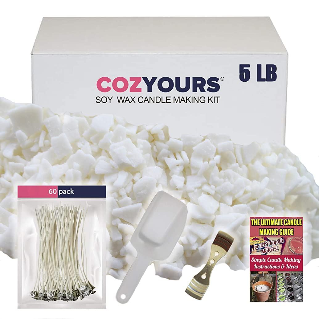 Cozyours DIY Candle Making Kit Supplies: Natural Soy Wax 5 Lb, 60 Candle Wicks,1 Wick Centering Device and 1 Scoop; Ultimate Candle Making Guide E-Book Included!