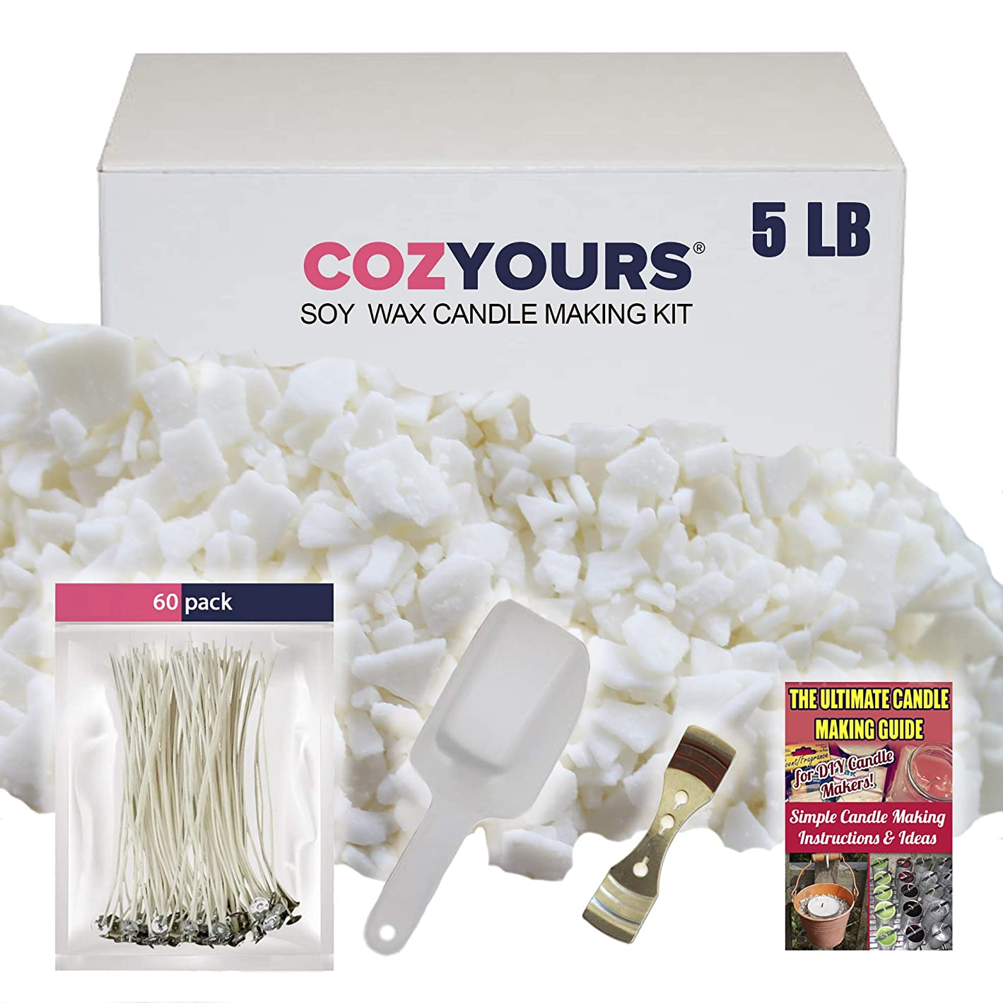Cozyours DIY Candle Making Kit Supplies: Natural Soy Wax 5 Lb, 60 Candle Wicks,1 Wick Centering Device and 1 Scoop; Ultimate Candle Making Guide E-Book Included! x42439777494998