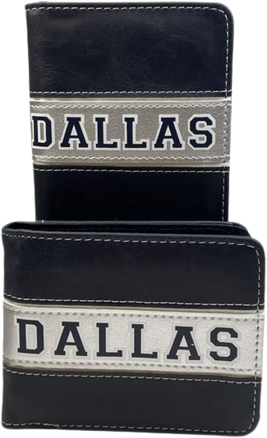 Western Style Cowboy 2 pcs Wallet Set for Men Rodeo/Texas Star/Cross/Praying Cowboy Wallet Leather Long and Short Bifold Wallet set (Dallas)
