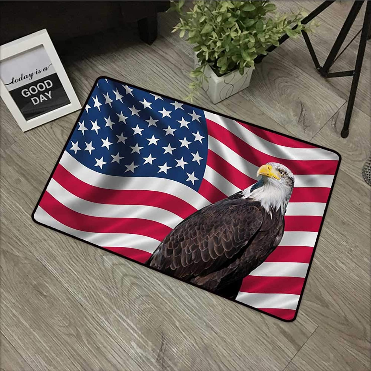 Door mat W31 x L47 INCH Eagle,Patriotic Symbols of The Land with an American Flag with a Bald Eagle Nationalism,Multicolor Natural dye Printing to Protect Your Baby's Skin Non-Slip Door Mat Carpet