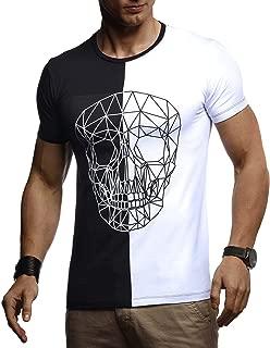 Leif Nelson Herren Sommer T-Shirt Rundhals-Ausschnitt Slim Fit Baumwolle-Anteil Basic Männer Totenkopf T-Shirt Crew Neck Hoodie-Sweatshirt Kurzarm lang LN4670