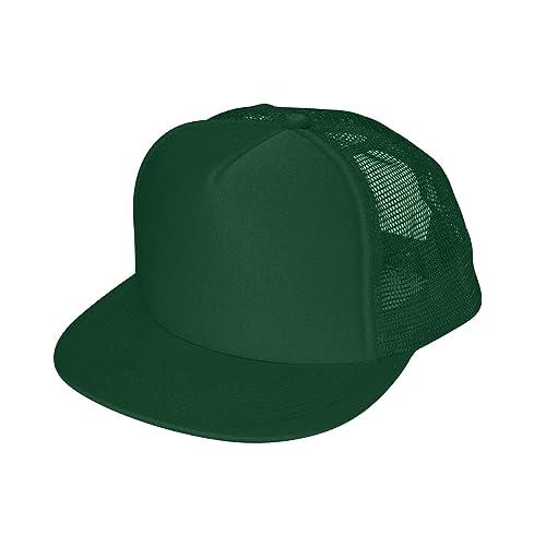 4e870630 DALIX Flat Billed Trucker Cap with Mesh Back M L XL Adjustable Hat (in 14  Colors