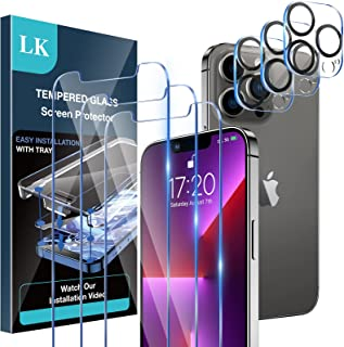 [3+3 Pack] LK 3 Pack Screen Protector for iPhone 13 Pro Max with 3 Pack Camera Lens Protector, Tempered Glass Film, HD Scr...