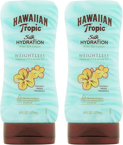 Hawaiian Tropic Silk Hydration Weightless After Sun Gel Lotion With Hydrating Aloe And Gel Ribbons, 6 Ounces - Pack of 2