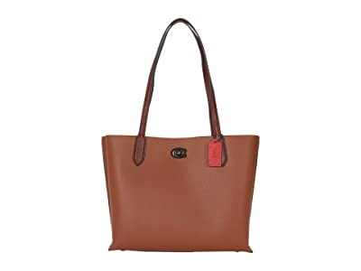 COACH Color-Block Leather with Coated Canvas Signature Interior Willow Tote