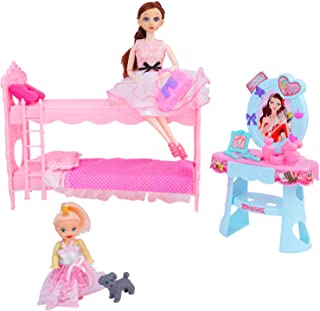 Huang Cheng Toys 11 Inch Doll Furniture - Bed & Dressing Table and Doll Accessories
