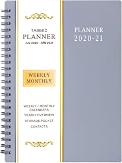 "2020-2021 Planner - Weekly & Monthly Academic Planner, 6.25"" x 8.3"", Jul 2020 - Jun 2021, Flexible Cover,12 Academic Monthly Tabs, 21 Notes Pages, Twin-Wire Binding with Two-Sided Inner Pocket"