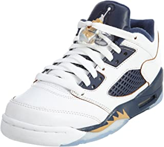 Nike Kid's Air 5 Retro Low (Gs) White/Metallic Gold/Mid Navy Basketball Shoe 6