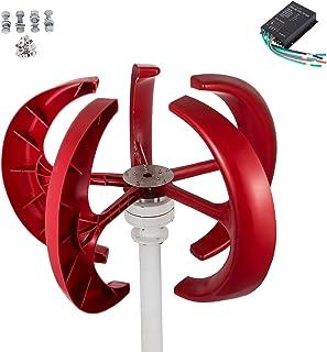 Kit eolica Verticale a 5 Pale per eolica con Controller Senza palo generatore Eolico Lanterna Bianca Generatore di Vento turbina eolica 600 W 24 V Elettrico WUPYI2018