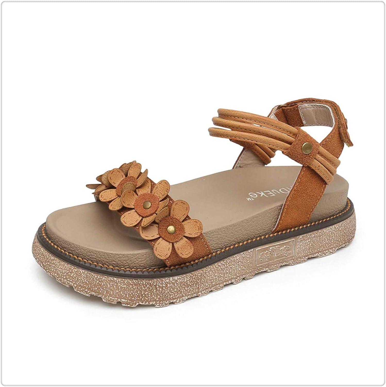 ZXCVB& Rome Open Toe Flat Platform Women Med Front Rear Strap shoes Hook Loop Sandals
