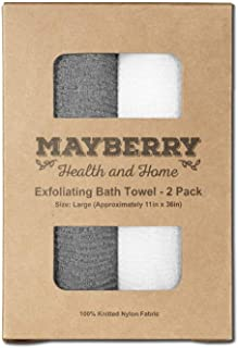 Extra Long Exfoliating Bath Cloth/Towel - 2 Pack - 36