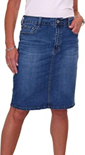 icecoolfashion Stretch Denim Above Knee Jeans Skirt Faded Wash 10-20