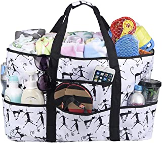 Beach Bags and Totes,Women Beach Bags With Zipper Cats Pattern Large Beach Tote with Pockets Lightwight & Foldable