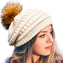 FURTALK Womens Winter Knit Slouchy Beanie Hat Warm Skull Ski Cap Faux Fur Pom Pom Hats for Women