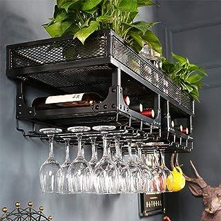 Amoureux du vin Mobilier de bar& Wine Rack mural étagère de rangement en métal rustique suspendu vin Champagne verre Gobel...