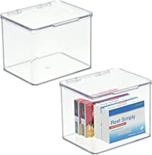 mDesign Stackable Plastic Storage Bin Box with Hinged Lid Organizer for Vitamins, Supplements, Serums, Essential Oils, Med...
