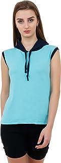 Reifica Women Sleeveless Tshirt with Hood   Cotton Casual Women T-Shirt (Ocean Blue)