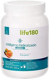 Life180, Colágeno Hidrolizado en Polvo, Sabor Naranja, 450gr, 5gr de Colágeno por Porción, 30 Porciones