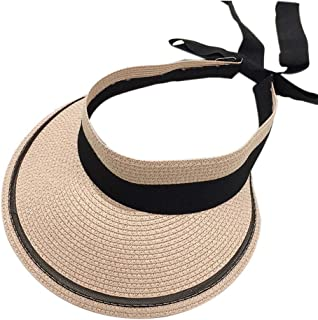 Straw Hat Beach Hat Round Cap Summer Shade Sunscreen Empty Top Basin Cap Women,C