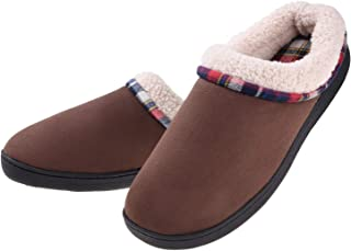 Men's Slippers Cozy Fuzzy Wool-Like Comfy Memory Foam Breathable Warm Slip on Clogs House Shoes Indoor/Outdoor Anti-Slip Sole